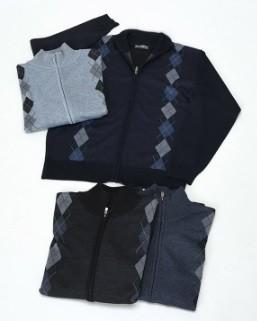 【紳士】アーガイル柄フルジップセーター 12枚