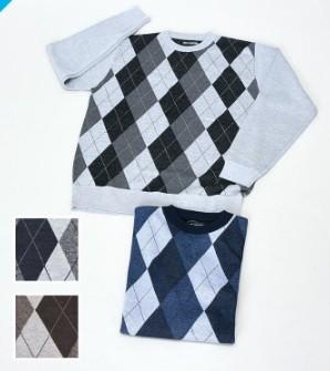 【紳士】アーガイル柄丸首セーター 12枚