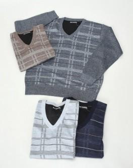 【紳士】格子柄Vネックセーター 12枚