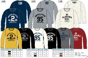 天竺シンプルカレッジ柄長袖Tシャツ 3柄36枚入り! Z1283-01
