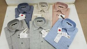 GWSALE!FIDATO メンズ日本製 近江ちぢみ麻混デザイン 7分袖シャツ