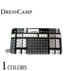 DRESSCAMP ドレスキャンプ 財布 男女兼用 ンドリアンパターン スタッズ ラウンドジップウォレット ブラック 長財布 DSWR-1601 3個だけ