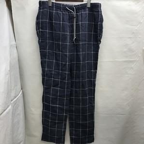 ユナイテッドアローズ チェック柄 麻パンツ 日本製 Lサイズ 定価14000円
