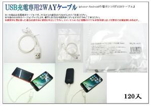 THE処分!USB充電専用2wayケーブル ライトニング&microUSBの両方使えて便利です。234個でラスト