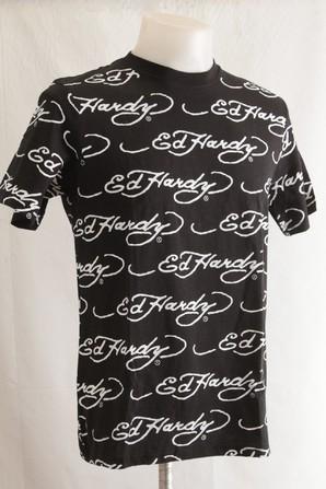 EDHARDY エドハーディー メンズ 総柄 ロゴプリント 半袖Tシャツ ED8402 総柄 画像使用OK