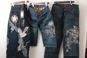 居楽仁メンズ 和柄高級刺繍デザインジーンズ 超激安 8本セット