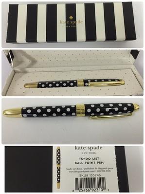 【Kate Spade】ケイトスペード 133745 Black Dots キャップ式 ボールペン