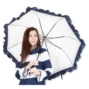 折りたためる大きな美白フリル傘 晴雨兼用  大きい傘 直径約120cm ワイドサイズ 晴雨兼用