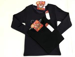 防寒インナー!【婦人】 裏ボア無地 長袖Tシャツ 10499871 2色展開