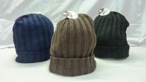 男女兼用 ニット帽子 ニットキャップ 太リブタイプ 3色展開 60個セット