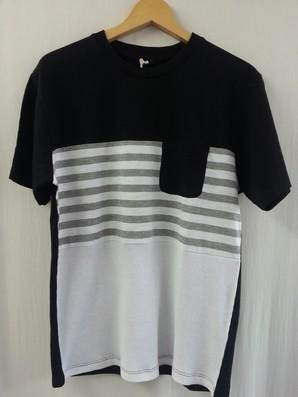 【CPS】メンズ ポケット付き 3段切替 Tシャツ 4色展開 40枚セット 品番:186-7208