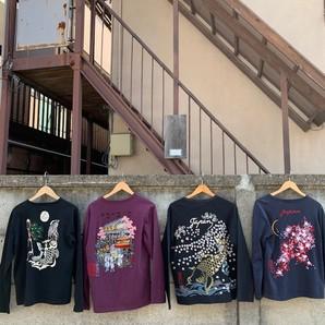 居楽仁 メンズ 総刺繍 和柄長袖Tシャツ 7枚セット 1セットのみ 上代8900円 サンプル品