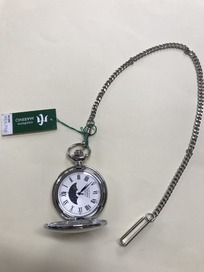 MARINO capitano 懐中時計 提げ時計 ポケットウオッチ 日付・サン&ムーン MC137-1 シルバー [MC137-5]
